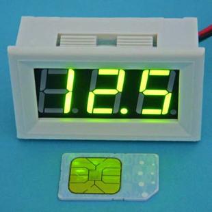 大龟直流数显黄绿色数字数显电压表0 100v汽车电动车 bt高清图片